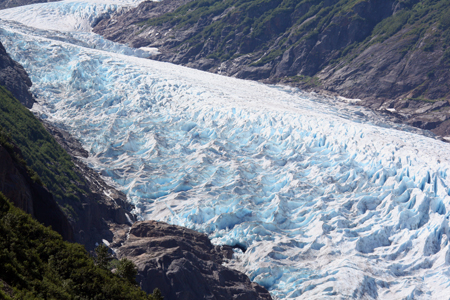 Bear Glacier on the Glacier Highway. Moraines are the rocks & debris in front of and on the sides of glaciers.