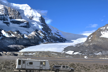 Parked by the Athabasca Glacier, an Arm of the Columbia Icefield