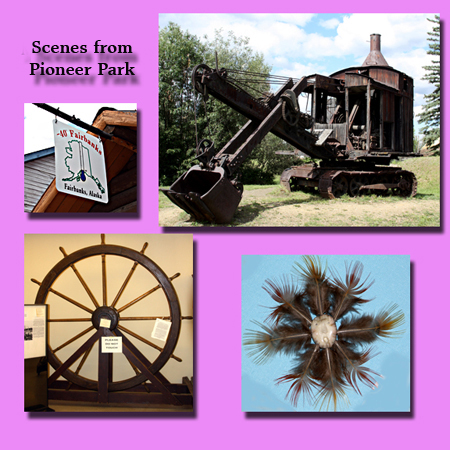 "(Clockwise from Top Left: An invitation to ""chill;"" a Steamshovel that helped dig the Panama Canal; A Fetish on sale in the museum; and Fairbank's first artifact, the Wheel from the ill-fated Lavelle Young.)"