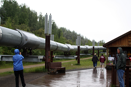 The Famous Alaskan Oil Pipeline at Fairbanks -- A Few Feet of the 800-Mile Project