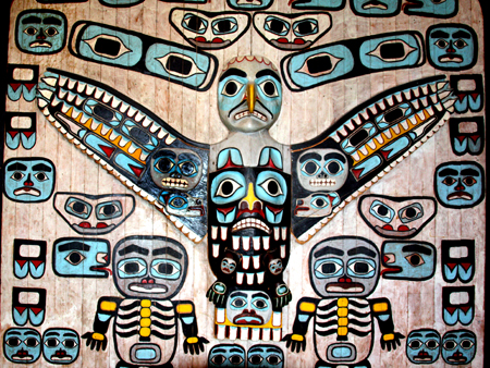 """This century-old """"Thunderbird House"""" panel of the Shangookeidi Clan, Yakutal Tlinglit welcomes visitors to the Alaska State Museum near the State Capitol in Juneau"""