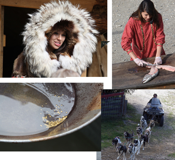 In the Athabascan Indian Village, Panning for Gold & Watching Campion Sled Dogs