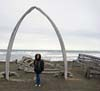 Shirley under the Whale Bone Arch -- St. Louie, eat your heart out!