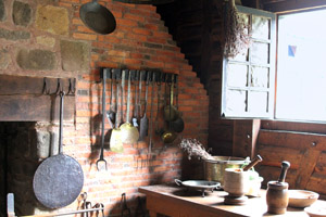The colonial kitchen, as recreated at Port Royal Habitation