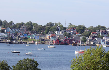 The colorful view at Lunenburg harbor