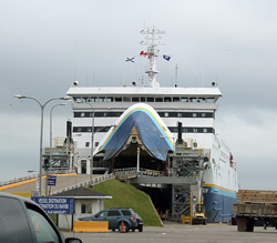 Like Moby Dick, the giant white ferry swallowed up dozens of RVs, cars and trucks