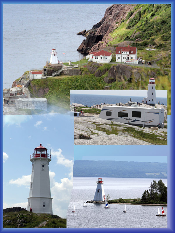 LIGHTING THE WAY -- Clockwise from top left, St. John's Newfoundland; Peggy's Cove; Across from the Alexander Graham Bell Museum, Nova Scotia; and Louisbourg, Nova Scotia