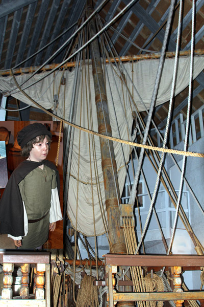 Young John Cabot welcomes visitors to see the recreated Matthew's Legacy. More understandable history under one roof than a whole schoolhouse.