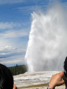 Old Faithful in Yellowstone -- right on time