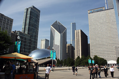 """The Bean"" at left is the most interesting feature of Millennium Park in Chicago"