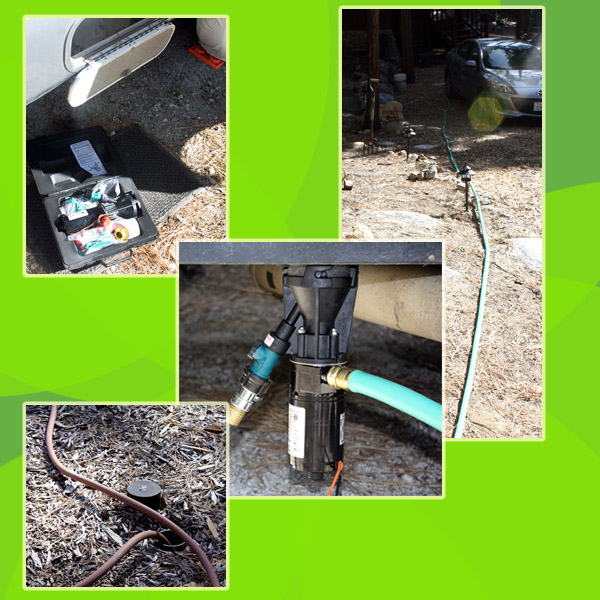Clockwise from top:  The kit, the hoses, the Macerator with attached hoses and emptying into the septic tank.  Much better than dumping buckets!