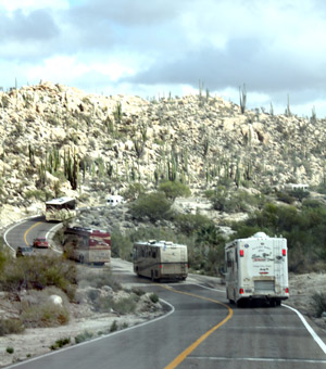 Traveling down the road, through desert and rocky hills, the Baja Whale-Watching RV Caravan Tour was a positive memory