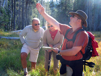 Solveig Gets Guidance from a German Hiker in Yosemite
