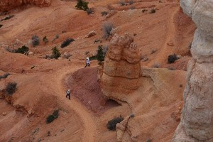 Hikers on the Navajo Loop climb back toward the rim